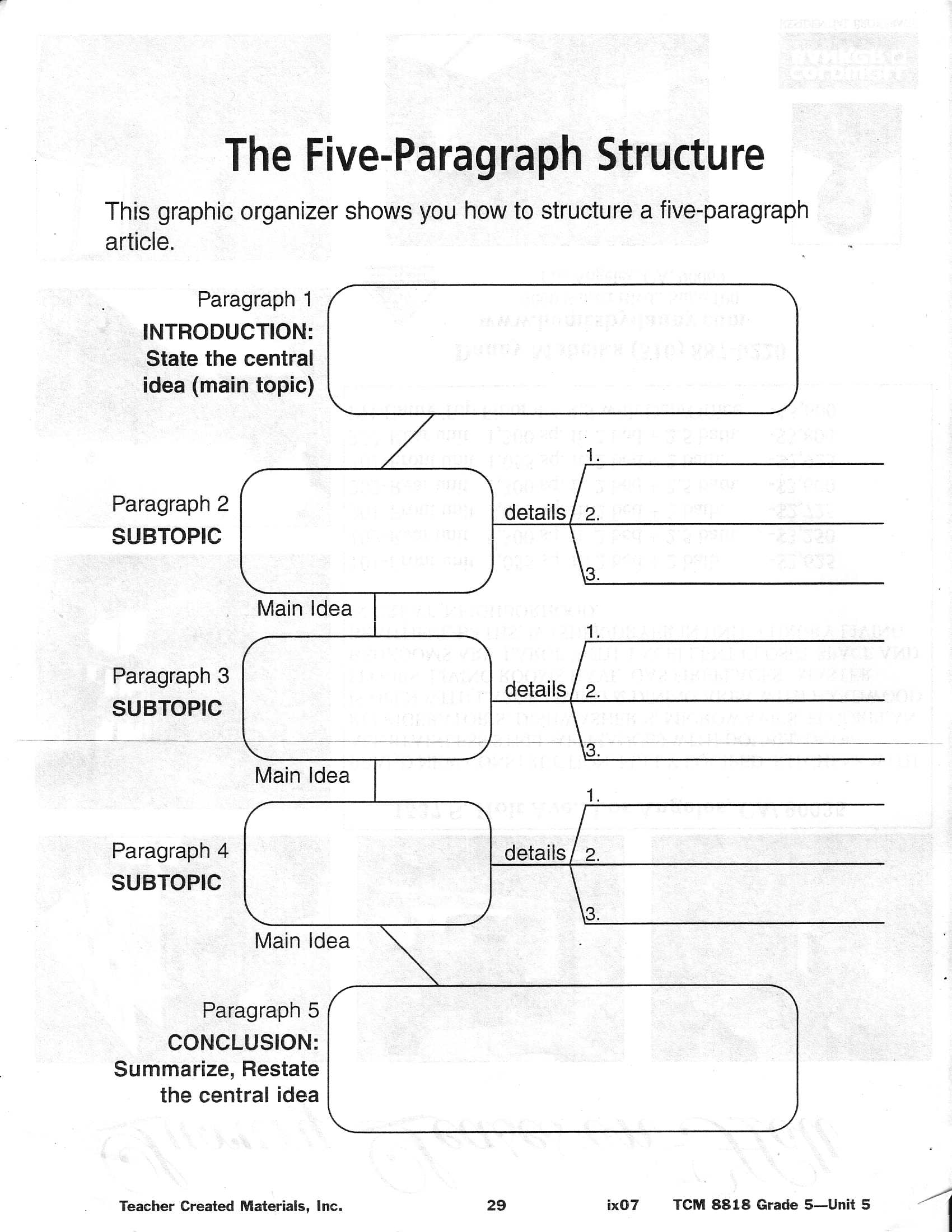 5 essay graphic organizer paragraph 5 paragraph essay graphic organizer topic: introductory paragraph: grab reader's attention thesis statement: body paragraph idea #1 conclusion: body paragraph idea #2.